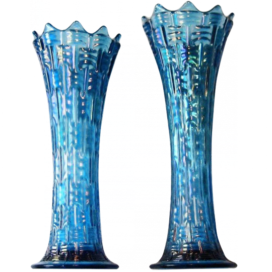 Dugan Big Basketweave Celeste Blue Vase Carnival Glass Showcase
