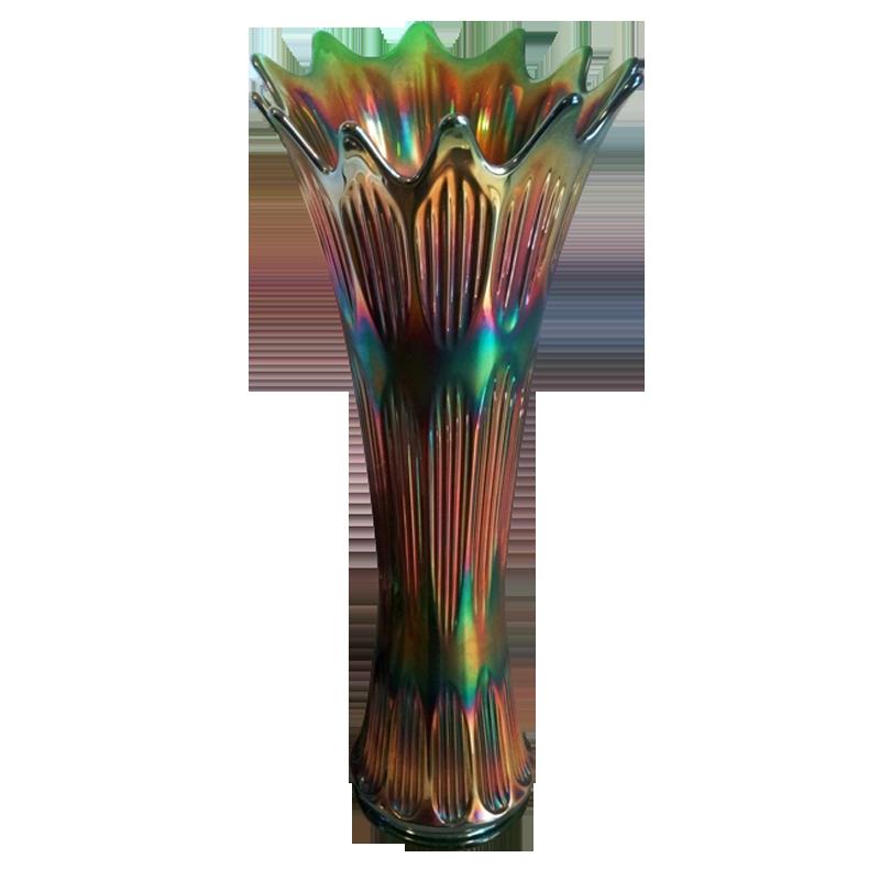 Fenton Diamond Rib Green Funeral Vase Carnival Glass Showcase