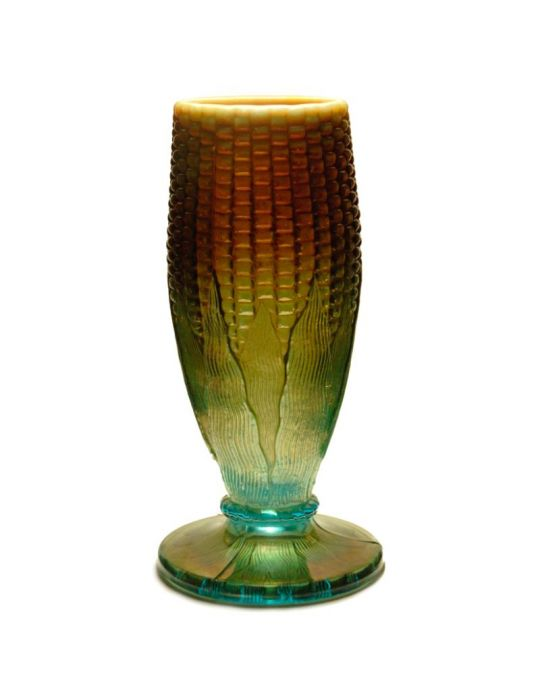 Northwood Corn Vase Aqua Opal Vase Carnival Glass Showcase