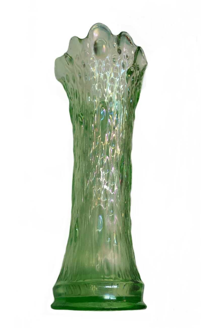Northwood Tree Trunk Ice Green Funeral Vase Carnival Glass Showcase